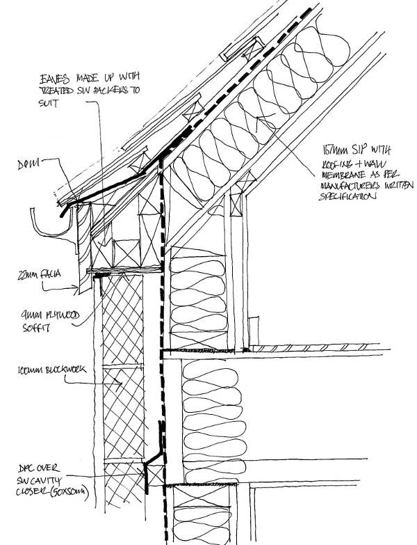 Hand-drawn eaves detail