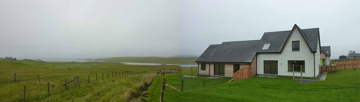 New  Building, Redman + Sutherland Architects,Hjaltland Housing Association, Brough View, Cullivoe, Shetland, context