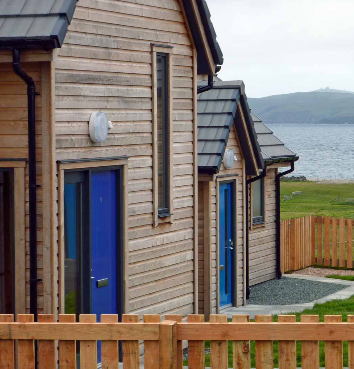 New  Building, Redman + Sutherland Architects,Hjaltland Housing Association, Brough View, Cullivoe, Shetland, porches